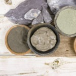 Ancient minerals - ochre, green, blue clay powder, mud mask